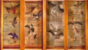 Balkenplafond beschilderd met vogels