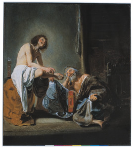 De lachende filosoof Democritus en de huilende filosoof Heraclitus