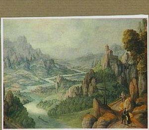 Panoramisch rivierlandschap met de ontmoeting tussen Mozes en Aäron (Exodus 4:27)