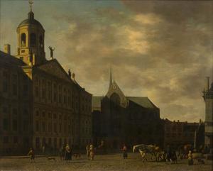 Het stadhuis op de Dam te Amsterdam gezien uit het zuiden