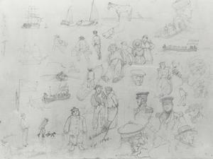 Studieblad van figuren en schepen