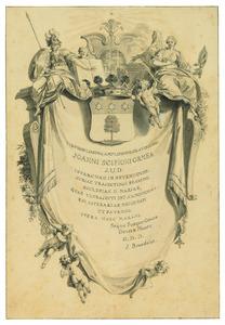 Cartouche met Minerva, Prudentia, wapenschild, putti en draperie