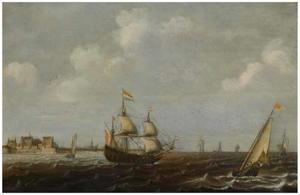 Driemaster en andere schepen gezien vanuit Vlissingen met fort Rammekens in de achtergrond