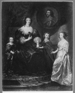 Portret van Katherine Manners, Duchess of Buckingham, Marchioness of Antrim, 18th Baroness de Ros of Helmsley (?-1649) als weduwe van George Villiers, 1st Duke of Buckingham (1592-1628), met haar drie kinderen Mary Villier, later Duchess of Richmond and Duchess of Lennox (1622-1695), George Villier, later 2nd Duke of Buckingham and 20th Baron de Ros (1628-1687) en Lord Francis Villiers (1629-1648)