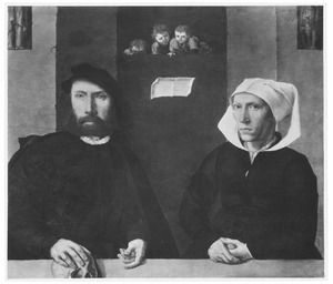 Portret van een echtpaar, waarbij de man zijn rechterhand op een schedel houdt