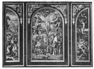 Drieluik met de kruisdraging (links), de kruisiging (midden) en de opstanding (rechts). In de zwikken (van links naar rechts): Abraham leidt Isaac ten offer, de engel weerhoudt Abraham Isaac te offeren, de aanbidding van de koperen slang, Jonas wordt door het zeemonster uitgespuwd