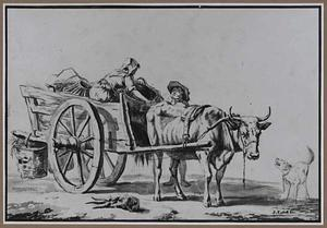 Ossewagen met boer en boerin