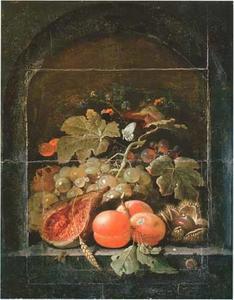 Stilleven van vruchten in een nis