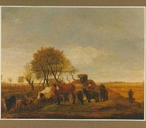 Polderlandschap met vee onderweg