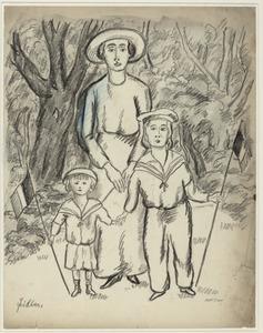 Moeder met zoon en dochter in een park