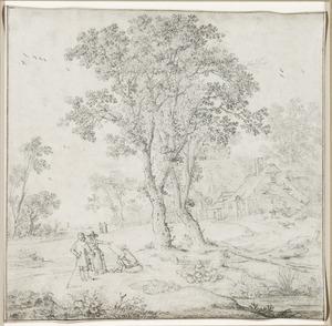 Landschap met bomen en een boerderij
