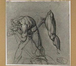 Voorovergebogen mannelijk naakt en studie van zijn benen
