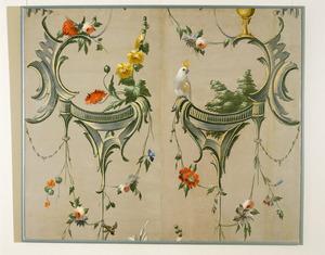 Rocailles met bloemslingers en exotische vogel