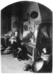 Een schilder in zijn atelier