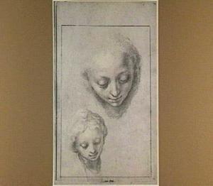 Twee studies van een meisjeskop