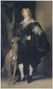 Portret van James Stuart, 4th Duke of Lennox and 1st Duke of Richmond (1612-1655), met zijn windhond