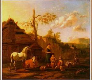 Kaartspelende herders bij een boerderij in een zuidelijk