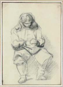 Zittende man, bezig met zijn handen