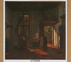 Interieur met schoenmaker en spinnende vrouw
