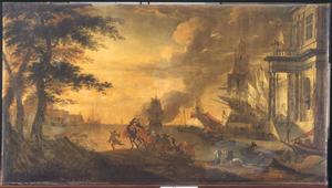 Zuidelijke haven met een oosterse karavaan op de voorgrond