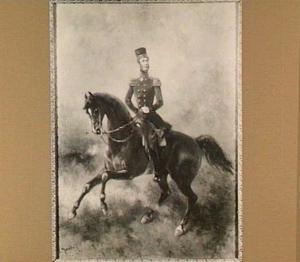 Portret van Koning Willem II, te paard
