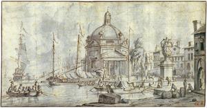 Gefantaseerd Italiaans havengezicht