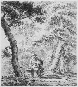Rustende figuur in boslandschap