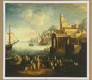 Mediterrane haven met figuren op de kade