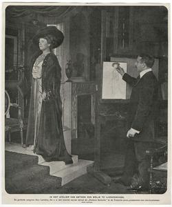 De schilder Anton van Welie werkend aan een portret van de zangeres Alys Lorraine
