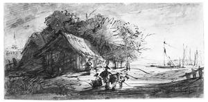 Landschap met schuur bij geboomte, figuren en zeilboten op rivier