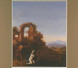 Arcadisch landschap met Juda dieTamar, vermomd als lichte vrouw zittend aan de weg vindt (Genesis 38:15-16)