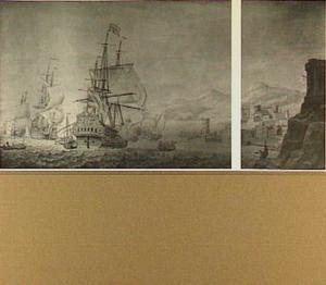 Amsterdamse en Engelse oorlogsschepen en andere vaartuigen voor een onbekende buitenlandse haven