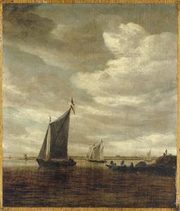 Riviergezicht met enkele schepen