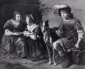Portret van drie onbekende kinderen