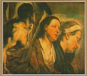 Studie van twee vrouwen en een torso van een krijger