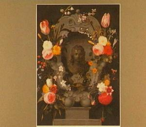 Voorstelling van Christus omringd door een krans van bloemen