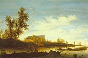 Rivierlandschap met visser op de voorgrond en de Laurenskerk van Alkmaar in de verte