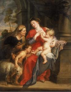 De Heilige familie met de HH. Elizabeth en Johannes de Doper