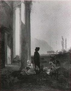Italianiserend landschap met herders bij ruïne