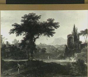 Arcadisch landschap met een ruïne