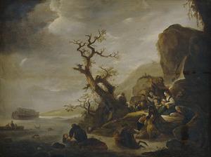De zondvloed de mensheid verzwelgend (Genesis 7:7-23)