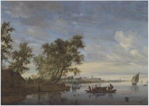 Gezicht op rivier de Vecht met een veerpont, in de achtergrond Kasteel Nijenrode