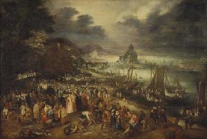 Havenscène met prekende Christus