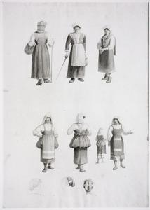 Studies van vrouwen in regionaal Italiaans kostuum en haardracht