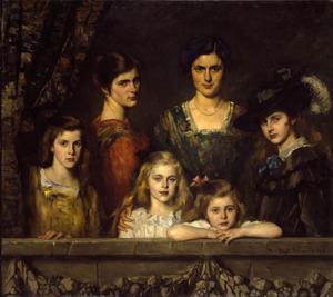 Familieportret van de zes dochters van Charles Ernest Henri Boissevain (1868-1940) en Maria Barbera Pijnappel (1870-1950)