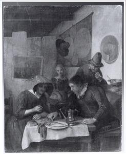 Boereninterieur met figuren rondom een tafel, kersen etend