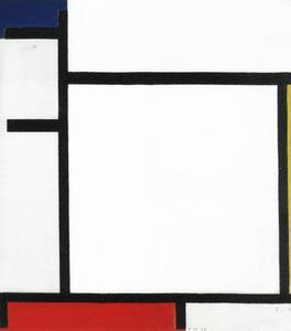 Composition with blue, yellow, red and gray