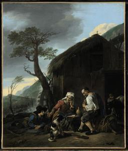 Rustende boeren bij een watermolen