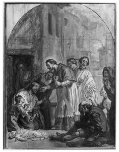De H. Carolus Borromeus deelt de communie uit aan de pestlijders van Milaan