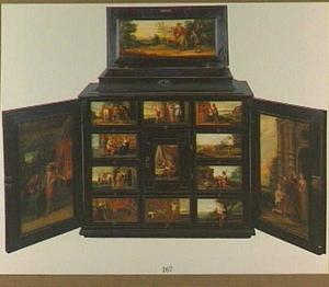 Kunstkastje beschilderd met scènes uit de parabel van de Verloren Zoon